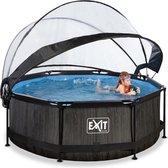 EXIT Zwembad Frame Pool Black Wood Limited Edition met Filterpomp - 244 x 76 cm met Overkapping en Cartridge Filterpomp