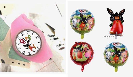 Bing horloge roze inclusief 4 folie ballonnen, verjaardag pakket, kado ballon