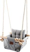 Baby / Kinder Schommel voor binnen of buiten! - Baby Swing Licht Grijs - Schommelstoel inclusief Zachte Kussens en Bevestigingsmaterialen