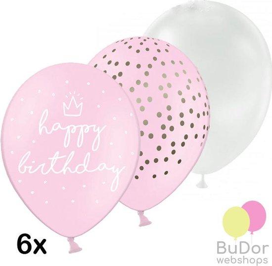 Happy Birthday ballonnen set, lichtroze, 6 stuks, 30 cm