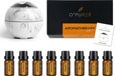 O'PUREd Aroma Diffuser   Geurverspreider   Luchtbevochtiger Incl. 8 flesjes Etherische Olie   Aromatherapie   Marmer