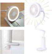 Livin' 2-in-1 Tafelventilator en LED Bureaulamp met Klem - Draagbare Mini Ventilator USB Oplaadbaar - Portable Clip Fan - 2 Wind en Licht sterkten - 360º Kantelbaar - Wit