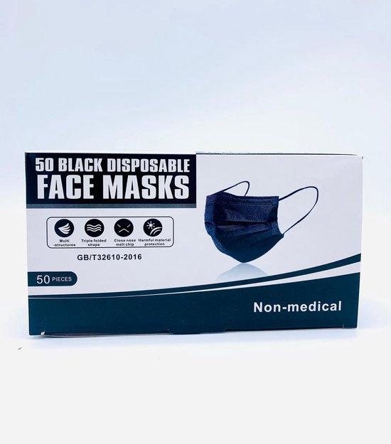 Zwarte mondkapjes - 3-laags - niet-medisch - 50 stuks - Merkloos