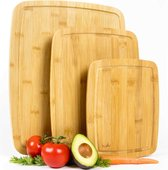 Budu Snijplankenset 3 stuks - Snijplanken bamboe - Snijplank hout - Grote snijplank - Keukenplanken