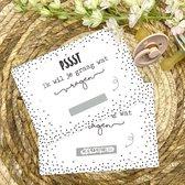 Kraskaart 'Wil jij mijn peettante zijn?' - Pssst Ik wil je graag wat vragen - inclusief kraft envelop - zwart wit