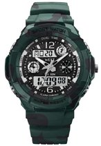 West Watch multifunctioneel kinder sport horloge - model Storm – Chronograaf – Shockproof - Digitaal/Analoog - Groen/Zwart camouflage