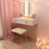 Grandecom® Make-Up Tafel | Met Spiegel en Licht | Kaptafel | met Kruk | Wit | Tafel | Make up tafel | Tafel voor make up