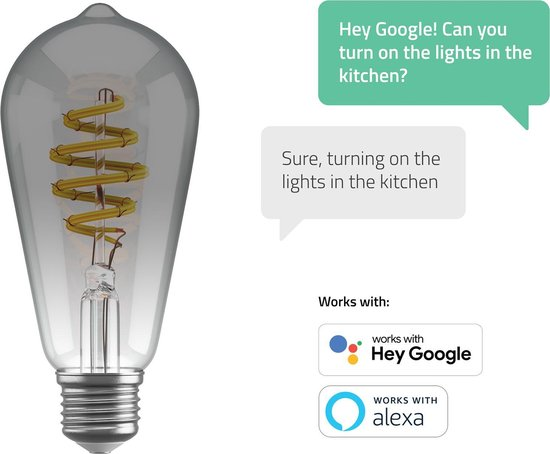 Hombli Smart Filament Bulb E27 ST64 – Smokey - Edison – Warm wit licht