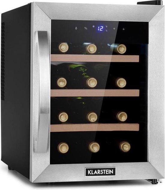 Koelkast: Klarstein Reserva 12 Uno wijnkoelkast 31 liter / 12 flessen - Temperatuurbereik: 11 tot 18°C - 26 dB - Een koelzone, van het merk Klarstein