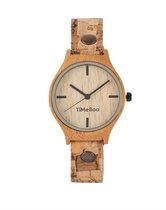 Dames horloge bamboe hout I VEGAN  single blok kurken band I TiMEBOO ®