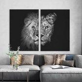 Canvas Schilderij Leeuw en Leeuwin Stel - Tweeluik   60 x 90 cm   PosterGuru