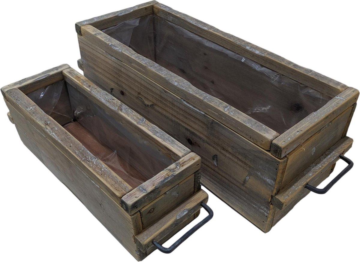 Plantenbakken voor buiten en binnen   2 houten planten bakken rechthoek   GerichteKeuze