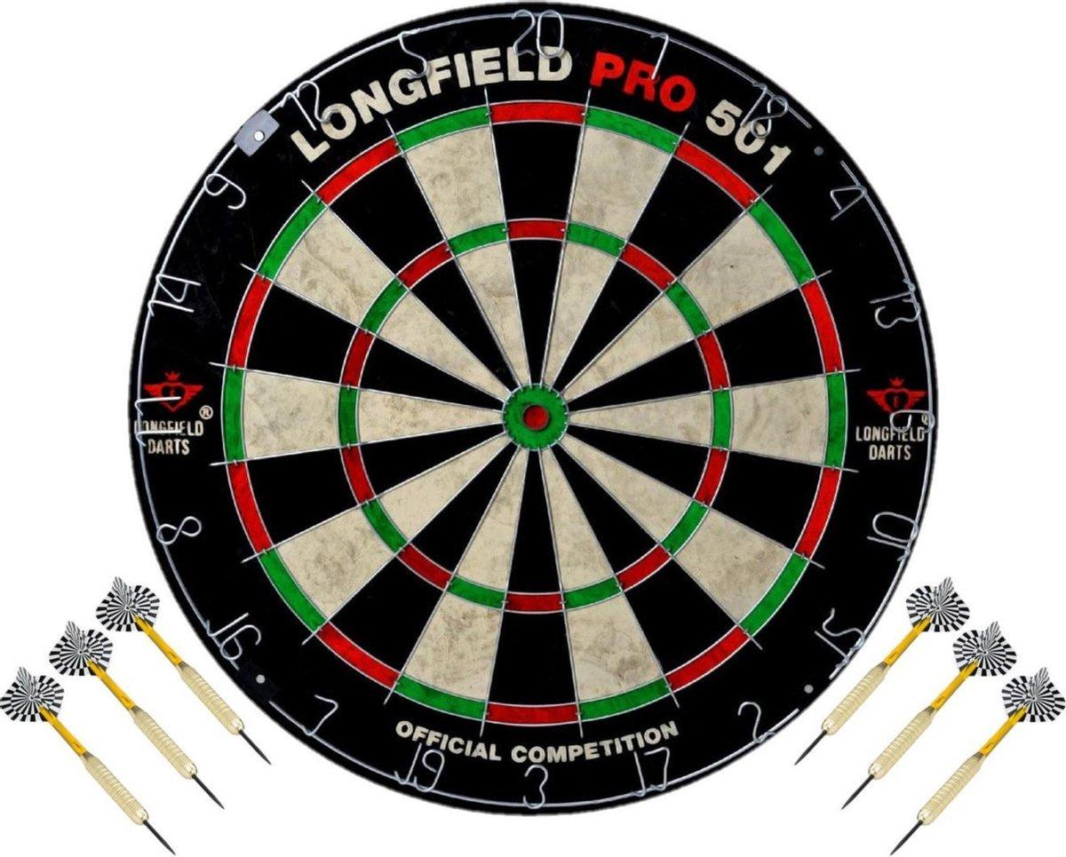 Dartbord set compleet van diameter 45.5 cm met 6x dartpijlen van 24 gram - Longfield professional - Darten