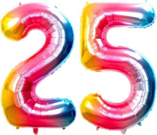Ballon Cijfer 25 Jaar Regenboog Verjaardag Versiering Cijfer Helium Ballonnen Gekleurde Feest Versiering 86 Cm Met Rietje