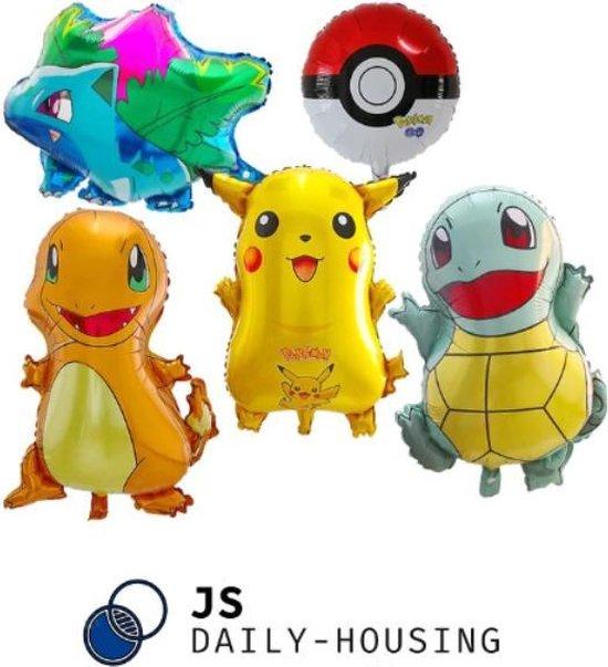 Pokemon Go - set van 5 folie ballonnen - Pikachu - Charmander - Venusaur - Squirtle - Pokebal 45-65 cm groot