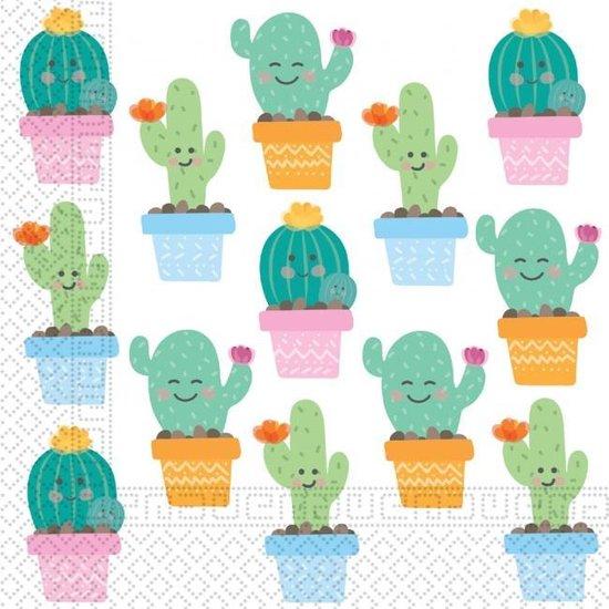 Procos Servetten Cactus 33 X 33 Cm Papier Wit 20 Stuks
