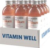 Vitamin Well Hydrate Rabarber/Aardbei 500ml - 12 Stuks Voordeelpakket - 12x 500 ml - Sportdrank