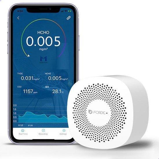 ForDig Luchtkwaliteitsmeter - HCHO / TVOC / CO2 Meter - Inclusief Temperatuur & Luchtvochtigheid Meting - App Bedienbaar via Bluetooth 4.0 op Android & iOS - Koolstofdioxide Luchtmeter Monitor voor Binnen - Gas Melder - Vochtigheid Detector