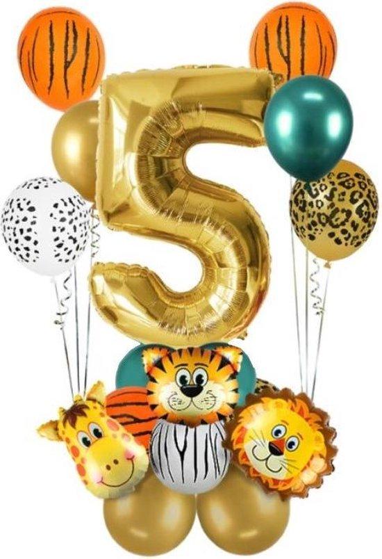 Dieren ballon - 5 jaar - Kinderfeestje - Vijf jaar - Verjaardagfeest - ballonnen pakket - Kinderfeestje pakket - Dieren ballonnen pakket - Jungle