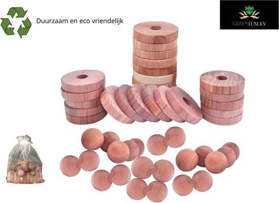Cederhout tegen Motten Bestrijden Anti Mot Ringen Ballen Set - Kledingkast - Schoenenkast - Garderobe - GreenLuxury®