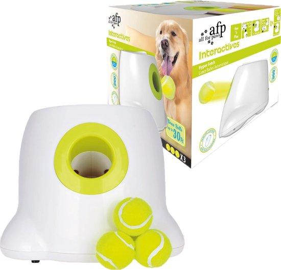 Automatische Ballenwerper voor Honden - Ballenschieter - Honden Speelgoed Intelligentie - Wit - Tot 12 Meter - Inclusief 3 Kleine Tennisballen