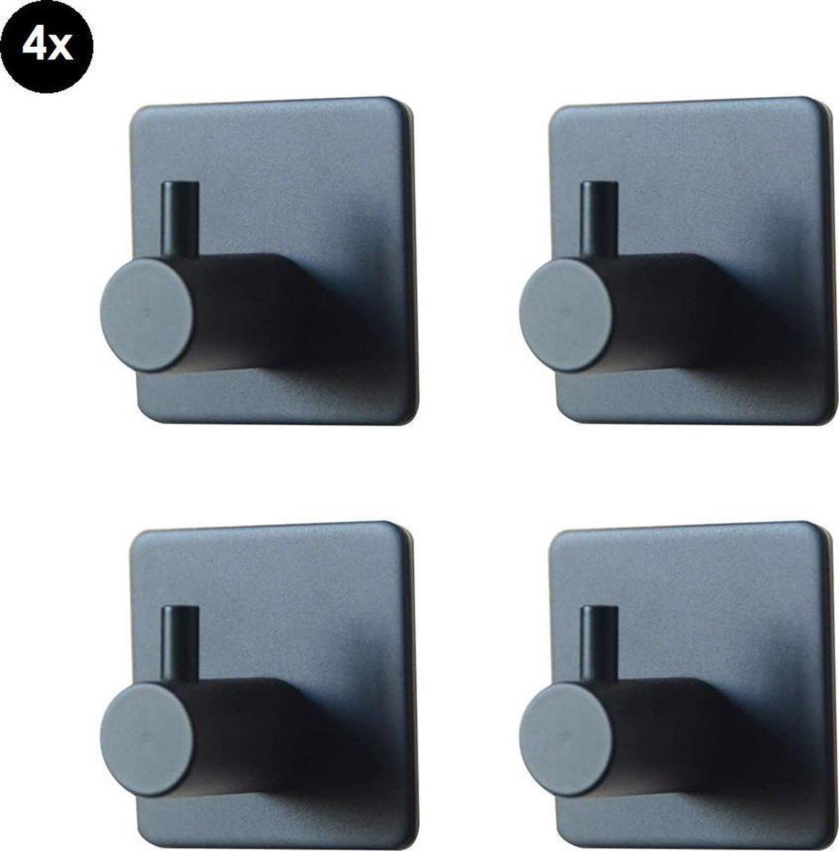 Handdoekhaakje Zwart - Wandhaakje - Luxe - Zelfklevend - Vierkant - Multifunctioneel