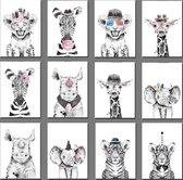 Wenskaarten - Safari babies - Set van 12 stuks - Verjaardagskaart - Leuke kaart - Geboortekaart - Geboortekaartjes - Felicitatie - Kaartje met een staartje - Jungle - Zonder tekst - Wenskaart - Lieve dieren