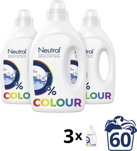 Neutral Kleur Parfumvrij Wasmiddel - 3 x 20 wasbeurten - Voordeelverpakking