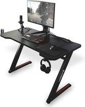 Gaming bureau - Vonyx DB15 gaming desk met anti slip- en kraslaag  - 120cm breed bureaublad met stalen frame - kabelmanagement - headset haak - Zwart