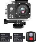 Qumax 4K Action Camera met Accessoires - Vlog Camera Actioncam - WiFi - Waterdichte Case - Afstandsbediening - Complete Set