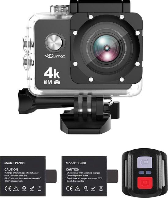 Qumax 4K Action Camera met Accessoires - Vlog Camera Actioncam - WiFi -...