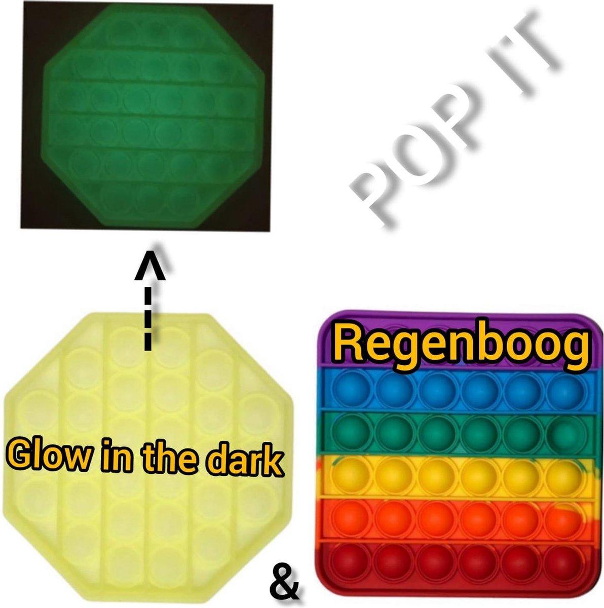 Fidget toys | Pop IT | Fidget toys pakket set van 2 stuks | Regenboog vierkant + Achthoek glow in the dark | Meisjes√ jongens√ volwassenen√ | Trend 2021 | Anti stress | Cadeautip _ Leuk voor zwembad