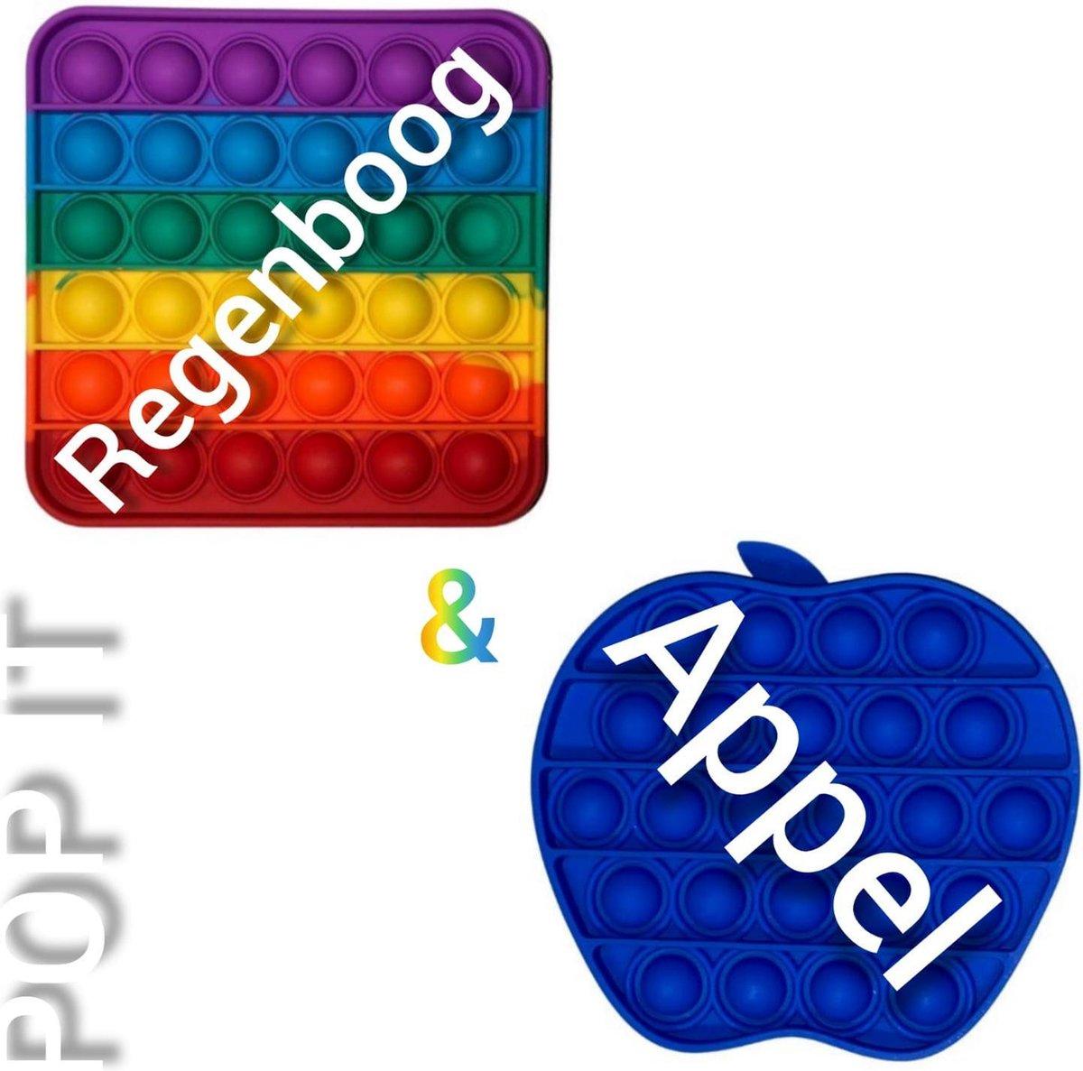 Fidget toys | Pop IT | Fidget toys pakket set van 2 stuks | Regenboog vierkant + Appel blauw | Meisjes√ jongens√ volwassenen√ | Trend 2021 | Anti stress | Cadeautip _ Leuk voor zwembad