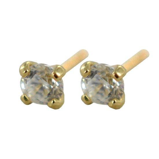 Silventi 9NBSAM-G200554 Gouden Oorknopjes - Dames - Swarovski Kristal - 2 mm Doorsnee - Chaton Zetting - 14 Karaat - Oorbel - Earparty - Goud