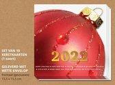 Kerstkaarten met enveloppen, Grote rode kerstbal - 10 stuks