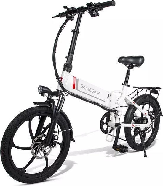 Matrix E Bike - Samebike Elektrische vouwfiet - Shimano 7 speed derailleur - 48V/8Ah lithium batterij -  aluminium -sportief/modern - 25km/u - Mat Wit