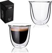 Dubbelwandige ESPRESSO glazen van borosilicaat - Warme en koude dranken - 70 ML - Set van 2