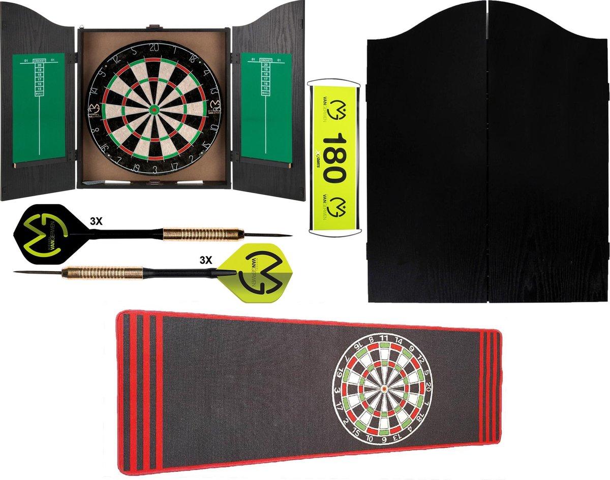 Dragon Darts Michael van Gerwen - dartkabinet - Home darts centre black - dartkast - dartkabinet met dartbord - inclusief dartmat antraciet