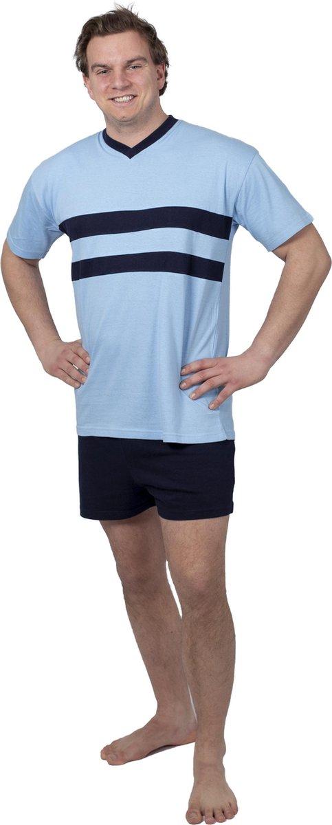 Heren Pyjama Navy Blauw V Hals Shortama - Maat L/XL