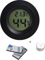 Tool Meister TM2 - Professionele hygrometer en temperatuurmeter - 2 in 1 - Digitaal - Voor buiten en binnen - Zwart - Rond - Inclusief Batterij