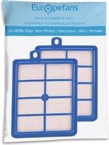 2x HEPA Allergie Filter Voor Philips/Electrolux/AEG/Tornado Stofzuiger H12 H13 Jewel Marathon Specialist FC8031/01 - Blauw