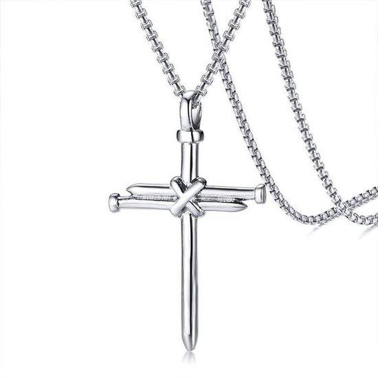 Spijker Kruis   Zilver Kleurig   Ketting Mannen  Ketting Heren   Kruisje   Mannen Cadeautjes   Cadeau voor Mannen