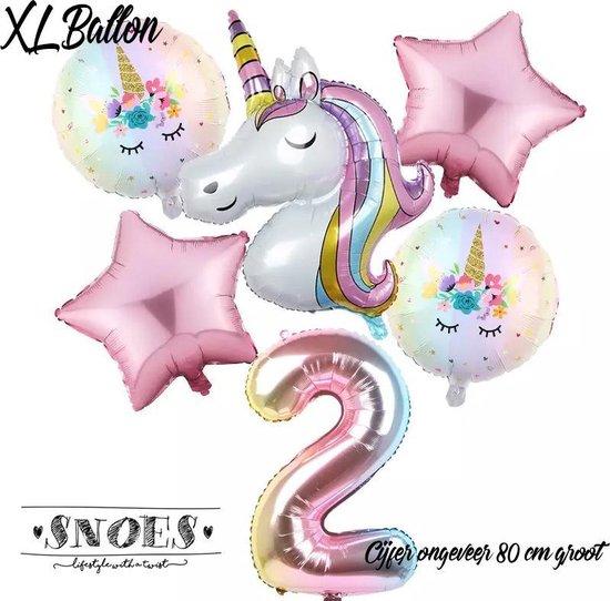 * Snoes * Unicorn * Eenhoorn Licht Roze * Set van 6 Ballonnen XL * Unicorn Nummer 2 * Tweede verjaardag * Hoera 2 Jaar * Birthday
