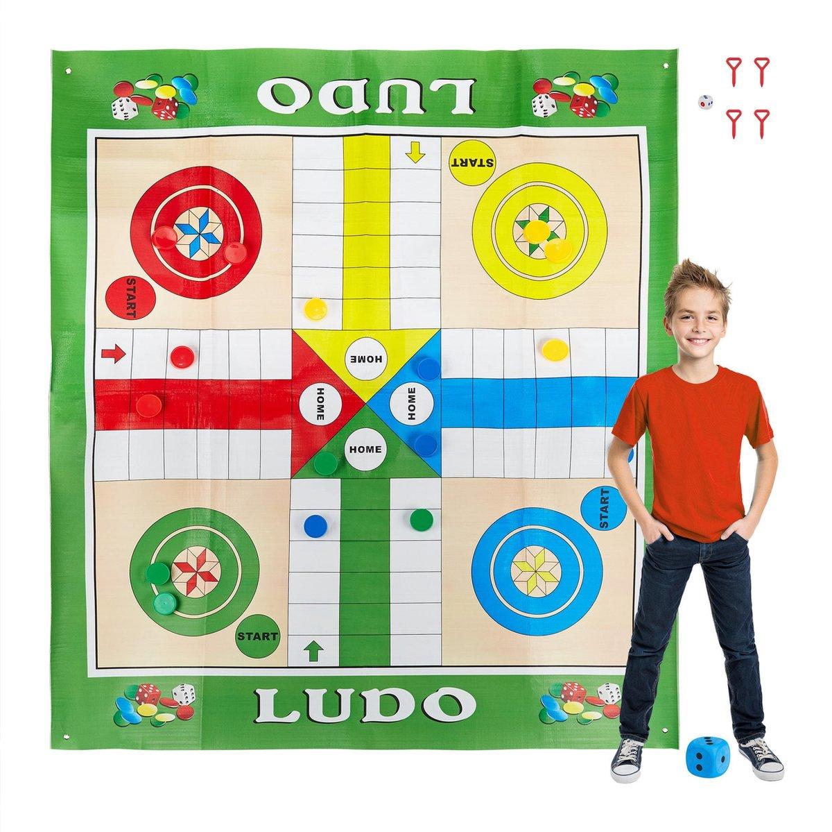 relaxdays Ludo bordspel XXL - paardjesspel - spelletje buiten - 160x180 - tuinspel