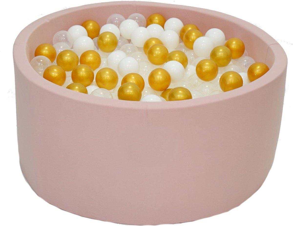 Ballenbak Roze 90x40 met 250 ballen Wit, Transparant, Goud