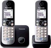 PANASONIC KX-TG6812GB DECT draadloze telefoon, 2 handsets - Handenvrij spreken - Nummerweergave - zwart