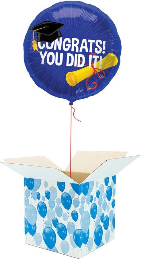 Helium Ballon gevuld met helium - Congrats! You Did it! - Cadeauverpakking - Gefeliciteerd - Geslaagd - Folieballon - Helium ballonnen gevuld