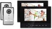 Doorsafe 4503 - Draadloze camera video deurbel - 2 x 7 inch scherm - 2 x deurbel, werkt op 12V of batterijen