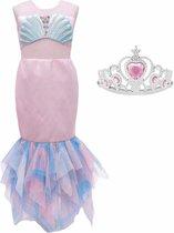 Zeemeermin jurk Prinsessen jurk licht roze + kroon - Maat 116/122 (120) verkleedjurk verkleedkleding