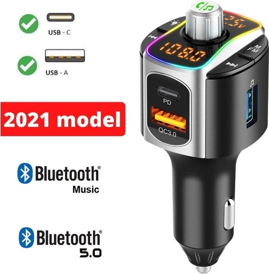 DutchOne FM Transmitter Bluetooth - NIEUWE MODEL 2021 - Autolader USB A & USB...